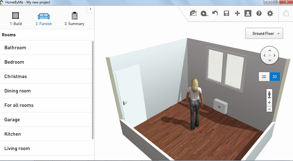 A groovy little avatar to walk around the room and check out available floor space!